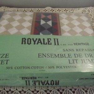 NOS Vintage 70s ROYALE II Fitted Bed Sheet Set
